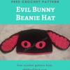 Evil Bunny Beanie Hat Free Crochet Pattern
