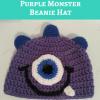 Parker's One Eyed Purple Monster Beanie Hat Free Crochet Pattern