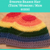 Rainbow Gay Pride Striped Beanie Hat Free Crochet Pattern for Teen Womens Men sizes