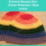 Rainbow Gay Pride Striped Beanie Hat Crochet Pattern for Teen/ Womens / Men sizes
